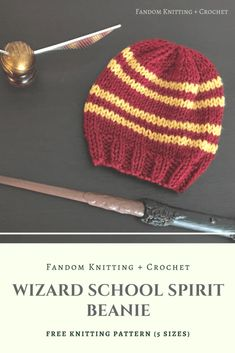 Wizard School Spirit Beanie, a free knitting pattern for Hogwarts Houses: Gryffindor, Ravenclaw, Hufflepuff, and Slytherin. Go to the post to get the free pattern. Tricot Harry Potter, Harry Potter Hat, Harry Potter Crochet, Beanie Pattern Free, Beanie Knitting Patterns Free, Free Pattern, Knit Crochet, Crochet Hats, Knit Cowl