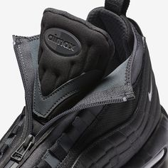 8f22e3c61608 The Nike Air Max 95 Sneakerboot Triple Black (Style Code  features a  murdered out Triple Black color scheme for Fall Winter