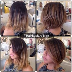 Graduated bob a-line haircut with touched up balayage ombre highlights