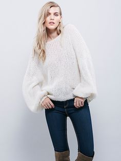 Alpaca Cloud Pullover | Super soft loose knit pullover sweater featuring a rounded neck and an oversized fit.  Dramatic billowy sleeves with a tight cuff.