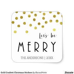 Gold Confetti Christmas Stickers