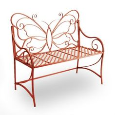 Red butterfly wrought iron bench