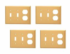 4 Switchplate Brushed Brass Solid Brass Double Toggle/Outlet wall plate