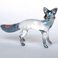 Fox Figurine Hand Blown Glass Gold Crystal by ProchaskaGallery, $75.00