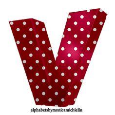 Alphabets by Monica Michielin: ALFABETO VERMELHO DE BOLINHAS, RED POLKA DOTS ALPHABETS