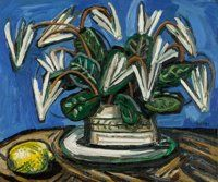 David Bates (American, b. 1952) Cyclamen and Lemon, 1992 Oil on canvas 20 x 24 inches (50.8 x 61.0 cm) Signed center