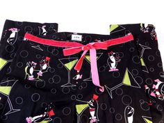 itw by Claude Brown Anthropologie Ladies Penguin Cocktail Print Pants Size 12 #itwbyClaudeBrown #Anthropologie #CasualPants