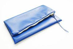 Blue Fold over Clutch by lauraplenzik on Etsy, $20.00