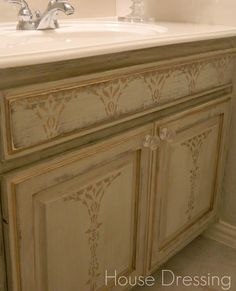 bathroom rub on stencil s for bathroom cabinets | ... bathroom cabinets, (boring by the way) turned into a French furniture