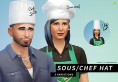 """lumialoversims:  """" Chef hats (converted from Sims 3)  Aspiring simchefs now don't have to be hat-less in Sims 4!  Download  """""""