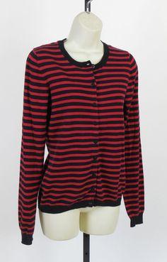 NEW Banana Republic Ranger Red Striped Cardigan Navy Wear to Work Top Sweater M #BananaRepublic #Cardigan