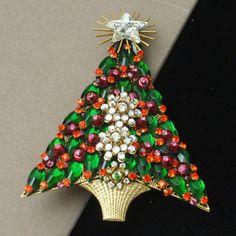 "Christmas Tree Pin Vintage Xmas Brooch Stanley Hagler NYC 4"" Tall Rhinestones..."