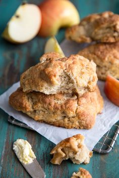 Apple Pie Scones The softest apple pie scones you'll ever make! Made with buttermilk and fresh apple pieces lightly spiced with cinnamon, nutmeg and cardamom. Apple Recipes, Fall Recipes, Baking Recipes, Bread Recipes, Baking Ideas, Pumpkin Recipes, Apple Scones, Apple Pie, Breakfast Recipes
