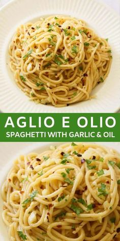 Spaghetti with Garlic and Oil, also known as Aglio E Olio, is a simple and delicious 15 minute meal made from just 5 ingredients. A traditional Italian pasta dish with sliced garlic that is sautéed in olive oil, then tossed with spaghetti, red pepper flak Best Pasta Dishes, Italian Pasta Dishes, Healthy Pasta Dishes, Pasta Side Dishes, Italian Meals, Italian Pasta Recipes, Mexican Recipes, Easy Pasta Recipes, Cooking Recipes