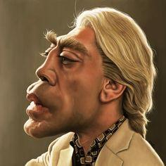 Caricatura de Javier Bardem como Silva en Skyfall.