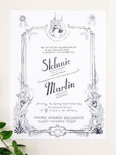 Whimsical Black and White Illustrated Wedding Invitation Ideas by Paulina Ortega via Oh So Beautiful Paper