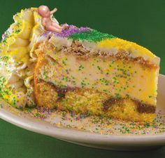 MARDI GRAS KING CAKE CHEESECAKE Makes It's Return to Copeland's of New Orleans and Cheesecake Bistro - -New Orleans Events Calendar King Cake Cheesecake Recipe, King Cake Recipe, Cheesecake Recipes, Mardi Gras Cheesecake Recipe, Louisiana Recipes, Cajun Recipes, Cooking Recipes, Cajun Food, Haitian Recipes