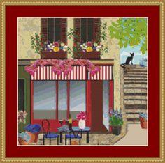 Cafe By The Steps Cross Stitch Pattern