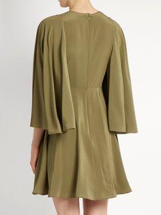 Cape-sleeve silk crepe de Chine dress | Valentino | MATCHESFASHION.COM