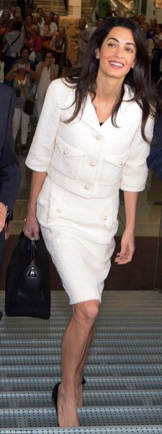 Amal Clooney in a Chanel skirt suit on a visit to Athens in October 2014...