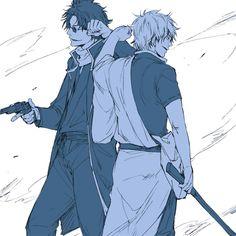 Gintoki et Sakamoto Anime Nerd, All Anime, Manga Anime, Sakamoto Tatsuma, Silver Samurai, Okikagu, Fan Art, Cartoon, Drawings