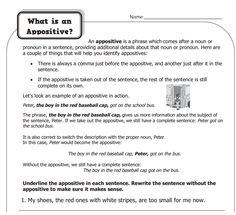 Worksheets Appositive Worksheets 1000 images about ua sentence structure on pinterest sentences what is appositives