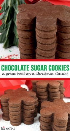 Sugar Cookies - a great twist on a Christmas dessert! Chocolate Sugar Cookies - a great twist on a Christmas dessert!,Chocolate Sugar Cookies - a great twist on a Christmas dessert!, A delic. Chocolate Sugar Cookie Recipe, Best Sugar Cookie Recipe, Chocolate Roll, Chewy Sugar Cookies, Christmas Sugar Cookies, Yummy Cookies, Cookies Et Biscuits, Chocolate Cookies, Cookie Recipes