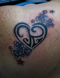 Heart with kids' initials and other shapes, flowers that are sentimental
