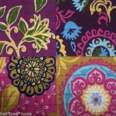 Cynthia Rowley Soledad Full Queen Quilt Purple Pink Green Blue Aqua Floral Teal | eBay