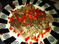 Ahi Tuna with quinoa and red peppers
