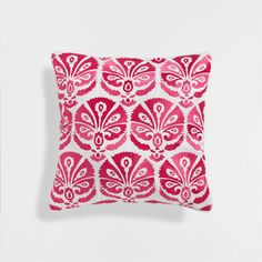 PINK EMBROIDERED CUSHION COVER