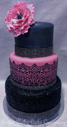The theme was Black, Bling and Sexy. Top tier is black fondant with a edible shimmer dust. Elegant Birthday Cakes, 40th Birthday Cakes, Beautiful Birthday Cakes, Beautiful Cakes, Birthday Ideas, 27th Birthday, Silver Cake, Gold Cake, White Flower Cake Shoppe