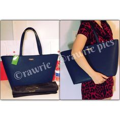 """New Kate Spade navy saffiano leather large tote 100% authentic. Navy saffiano leather with 14-karat light gold plated hardware. Inside zip and slip pockets. Zip top closure and fabric lining. Handles drop 9"""". Measures 19""""top/13""""bottom x 11"""" (H) x 6"""" (W). Brand new with tags. Comes from a pet and smoke free home. Kate Spade dustbag and shopping bag included. kate spade Bags Totes"""