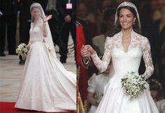 Quem não se lembra do vestido icônico de Kate Middleton?O modelo da grife Alexander McQueen, criado pela estilista Sarah Burton, foi feito em renda bordada à mão e em cetim.