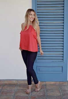 The Hot Coral Ruffle Top and Averie Wedges will keep all eyes on you this spring! Ruffle Top, Ruffles, Jean Outfits, Casual Outfits, Work Wear, Summer Outfits, Coral, Spring Summer, Take That