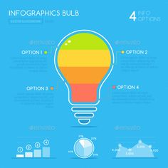 Buy Light Bulb Infographic by zoljo on GraphicRiver. Light Bulb infographic design with bulb icon graphics in flat style. Showing 3 options, bar graph and pie chart inclu. Infographic Resume, Infographic Templates, Infographics Design, Presentation Design Template, Brand Fonts, Bar Graphs, Job Posting, Information Graphics, Data Visualization