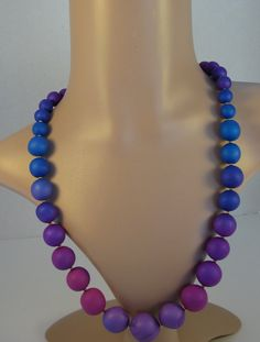 Graduated Bead Ombre Necklace in Orchid, Pink, and Blue