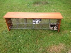 Vintage Wooden Bench With Wire Pigeon Hole Shoe Storage