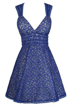Doll That Jazz Sequin Lace Dress in Blue