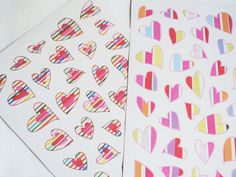 "Cute Striped Hearts Planner Stickers for any planner, agenda, calendar, diary, journal, school books, decorate your notebook or for scrapbooking projects.   • You will receive 1 sheet with 38 paper stickers. • Stickers measure between 0.4 and 1,1approx. • Sticker sheet measures approx. 7.4"" x 5.3"" • Non-removable matte paper. • All items are designed by me and made to order.  ▹▹▹▹▹▹▹▹▹▹▹▹▹▹▹▹▹▹▹▹▹▹▹▹▹▹▹▹▹▹▹▹▹▹▹▹▹▹▹▹ PROCESSING TIME ▻ Orders are shipped out within 3-7 business days…"