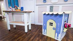 Tanya's DIY Cardboard Playhouse Home And Family Crafts, Home And Family Tv, Home And Family Hallmark, Crafts For Kids, Cardboard Playhouse, Cardboard Toys, Cardboard Furniture, Cardboard Houses, Forts En Carton