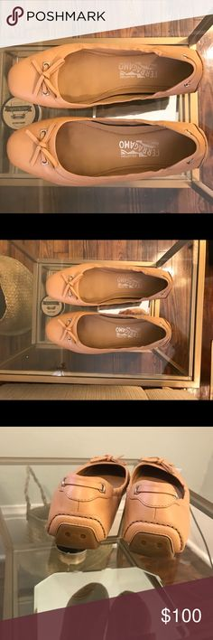 Salvatore Ferragamo flats, nude Tan/nude flats with bows. Gently used. Size 8. Salvatore Ferragamo Shoes Flats & Loafers