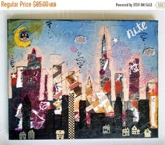 COUNTDOWN 2 BLACK FRIDAY Mixed Media City Skyline Art, Wall Art Décor, Collage Art, City Art Gifts, Mixed Media, Abstract Art, Geometric Art
