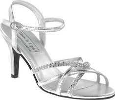 This high heeled silver metallic sandal has an ankle strap for maximum support.  Jewelling on the straps makes this a fun style for evening or special occasions.