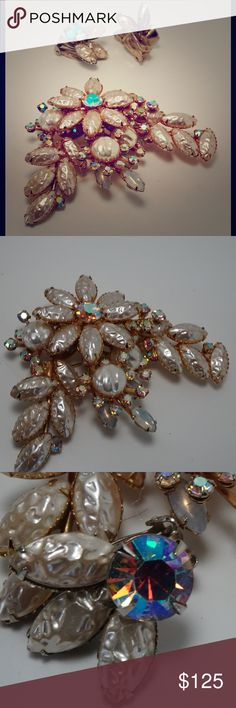 """1960s Juliana verified Set Brooch & Clip Earrings Huge glass pearls and aurora borealis rhinestones on gold tone base metal. Stunning with no missing or loose stones, the pin is 3"""" and earrings are 1 1/2"""". Great vintage bridal set or for dressing up a little bioscience dress. Gorgeous set! Vintage Jewelry"""