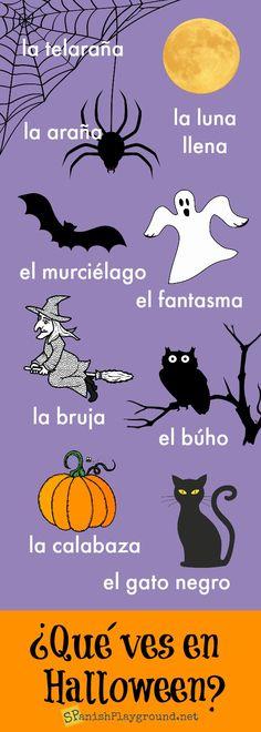 Spanish Halloween Infographic for Kids - Spanish Playground