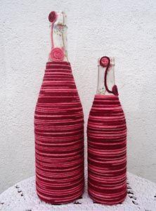 Reciclando garrafas com linhas coloridas