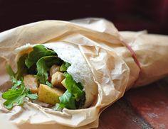 Arugula, Apple & Chickpea Salad Wraps
