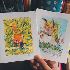 A couple of paintings for my friends in the office. :) Watercolor & gouache on watercolor paper Stream Of Consciousness, Gouache Painting, Online Art Gallery, Watercolor Paper, Paintings, Twitter, Illustration, Artwork, Rabbit