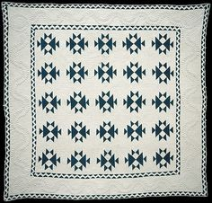 Quilt, Double X pattern.maker: R.M. date:1849
